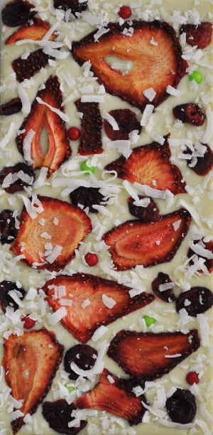 Organic Green Tea (Matcha) Dried Strawberries, Cranberries, Coconut with White Chocolate