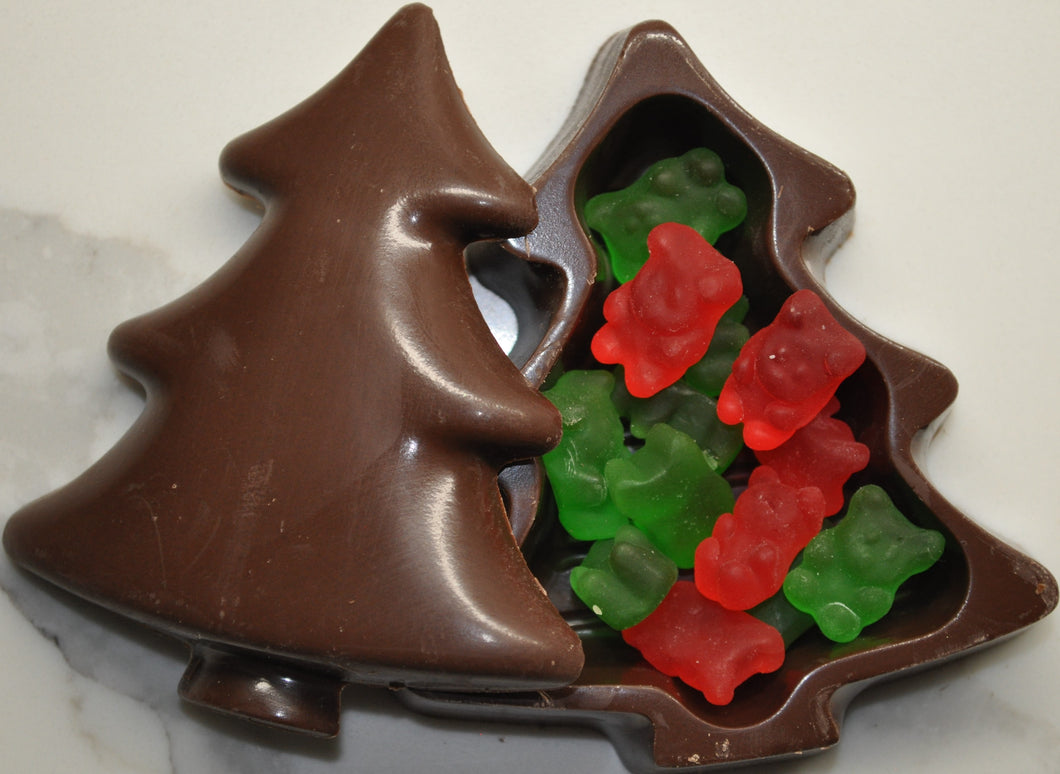Small Christmas Tree shaped Chocolate Gift Box with Gummy Bear