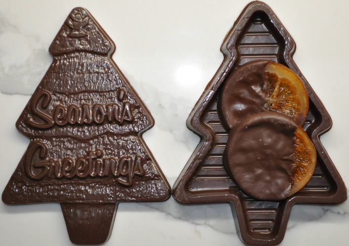 Medium Christmas Tree shaped Chocolate Gift Box with Candied Orange Slices