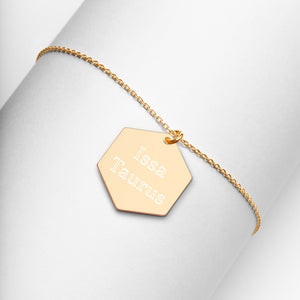 Issa Taurus Engraved Hexagon Necklace - Zodi-Hacks Apparel