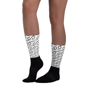 Zodi-Hacks Cancer Symbol Black Foot Sublimated Socks - Zodi-Hacks Apparel