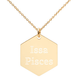 Issa Pisces Engraved Silver Hexagon Necklace - Zodi-Hacks Apparel