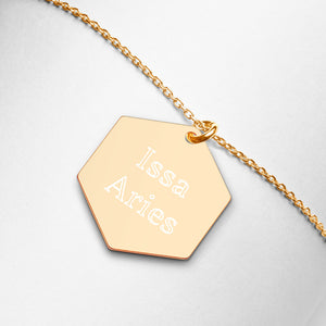 Issa Aries Engraved Hexagon Necklace - Zodi-Hacks Apparel