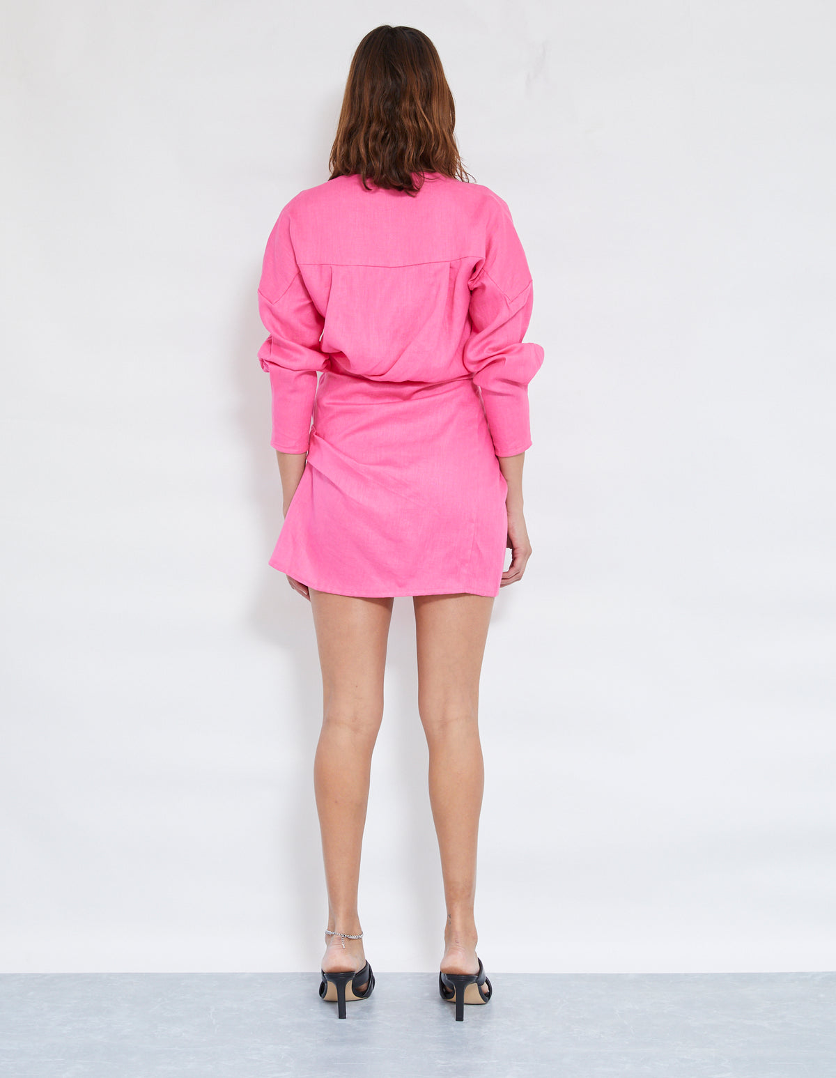 LOVERS LINEN TWIST DRESS | BRIGHT PINK