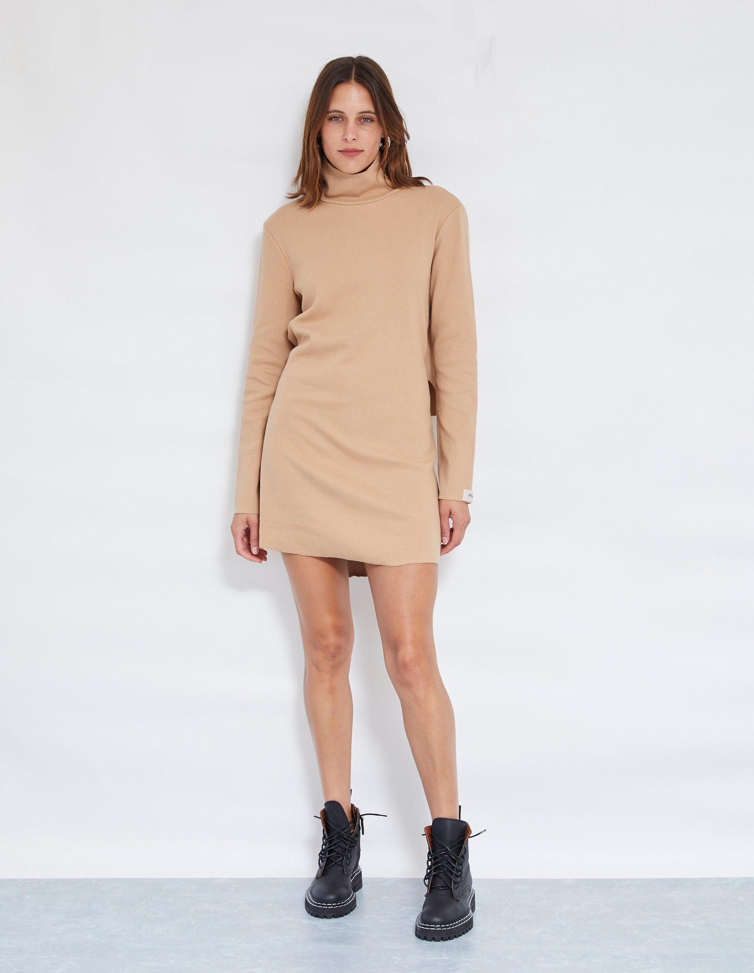BRUNO RIB DRESS | BEIGE