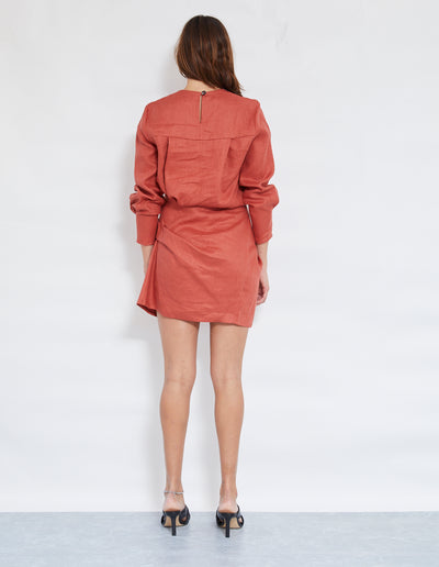 LUNA TWIST DRESS | RUST