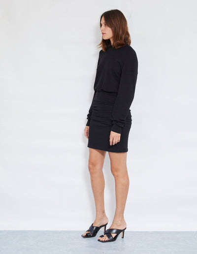 DELTA ROUCHED DRESS | BLACK