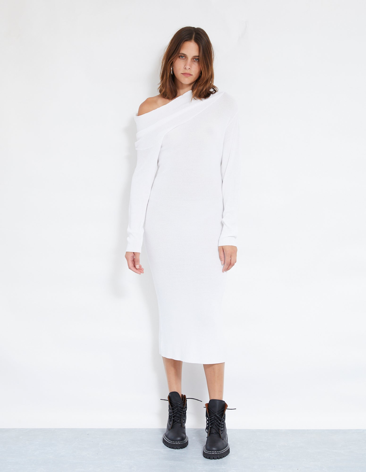 ROBBIE KNIT DRESS | WHITE