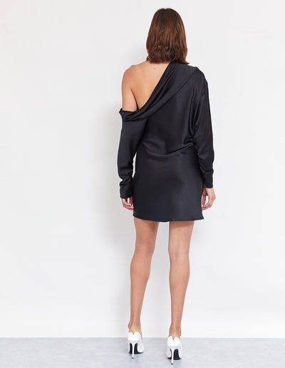 SUKIE COWL MINI DRESS | BLACK