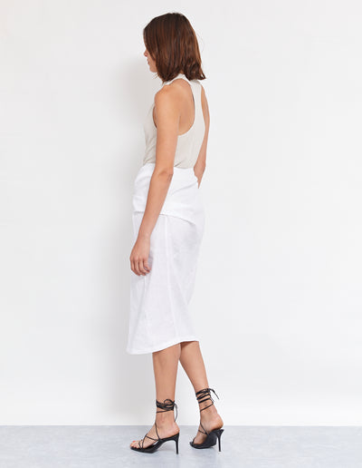 MORILLO TWIST SKIRT | WHITE