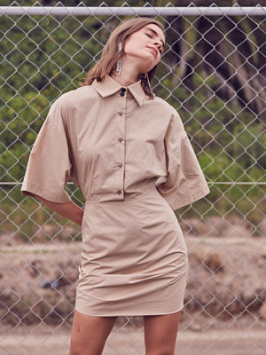 HUNTER SHIRT DRESS | NUDE