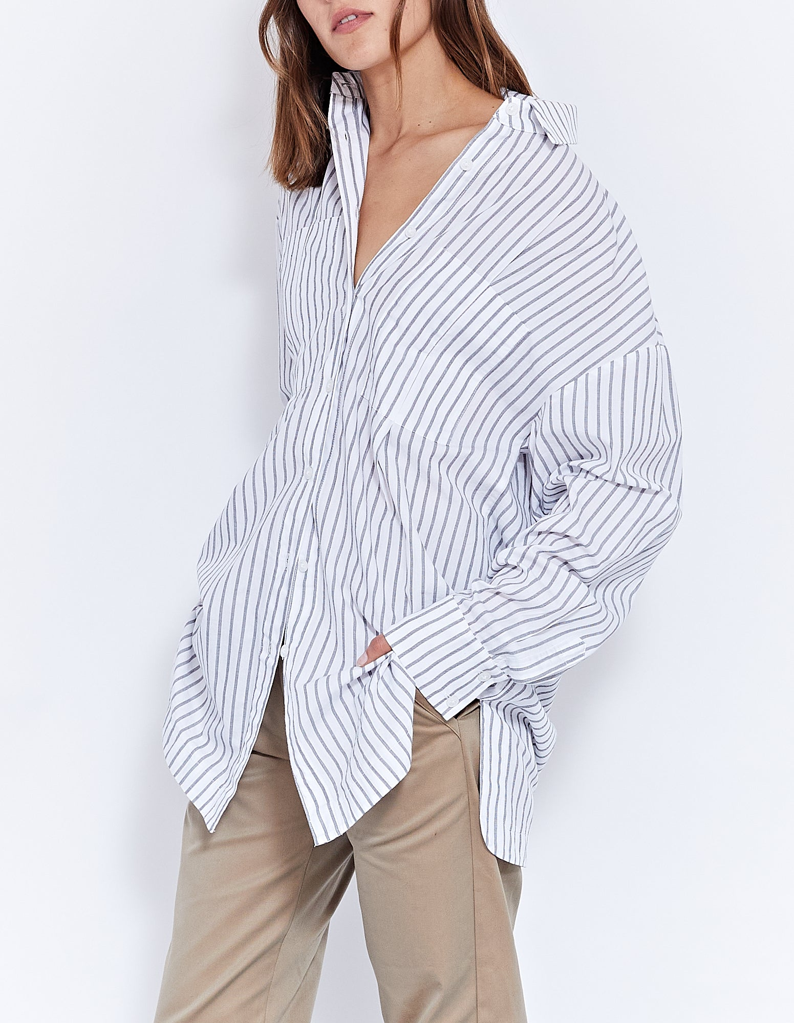 BANKS SHIRT DRESS | BLACK STRIPE