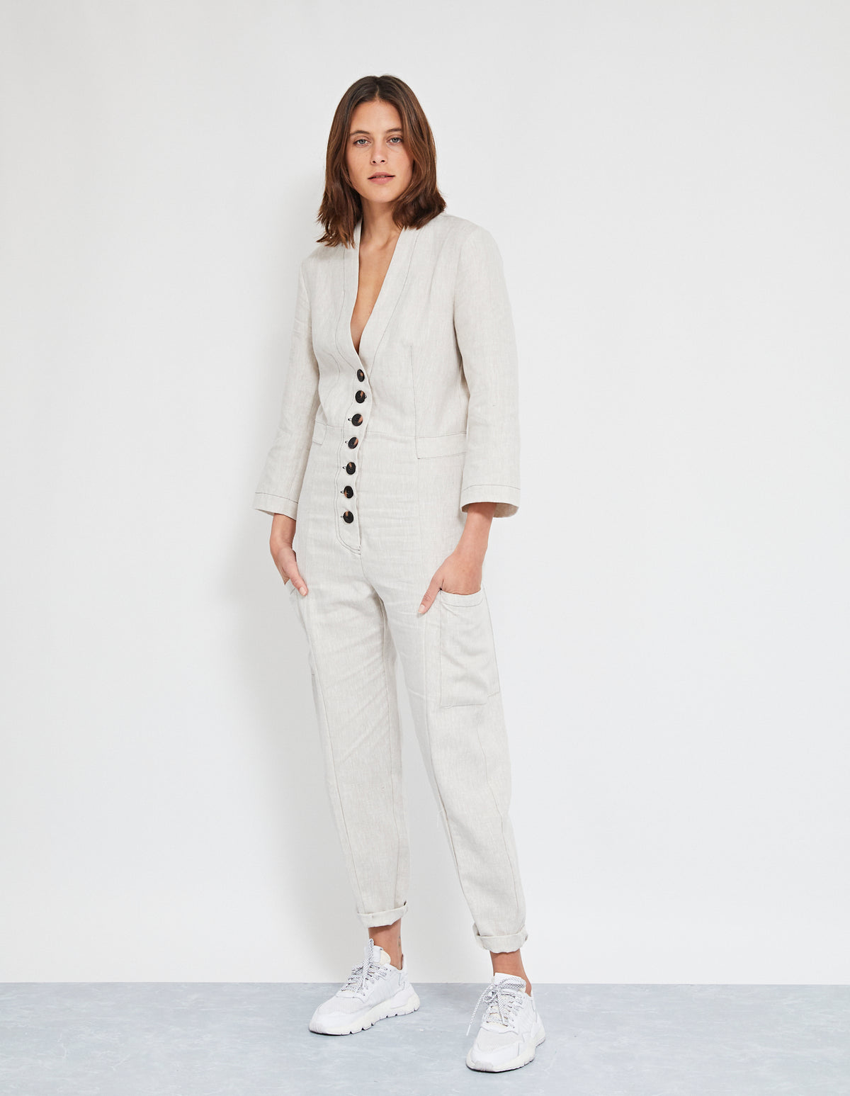 ECHO LINEN JUMPSUIT | NATURAL