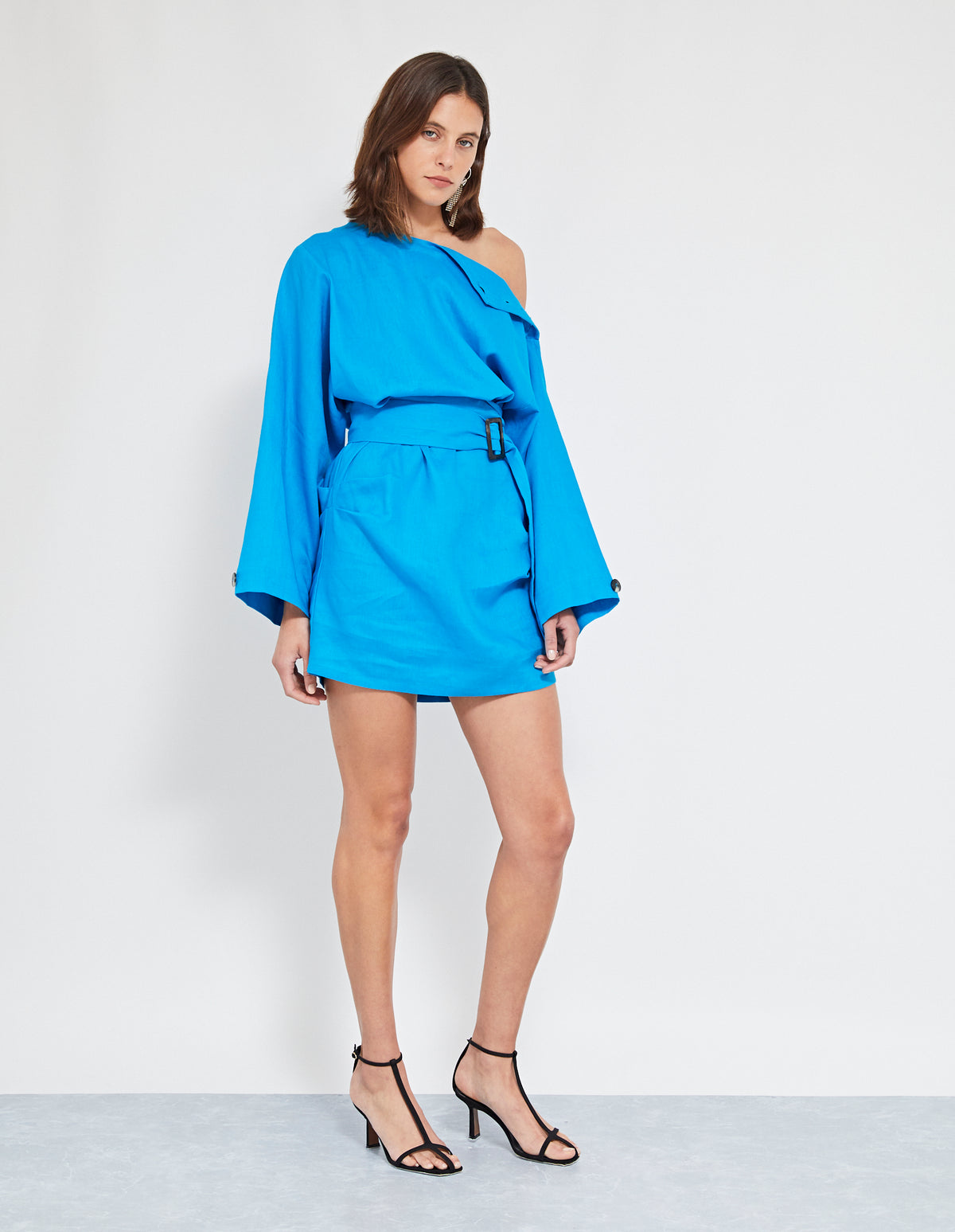 ECHO LINEN DRESS | COBALT