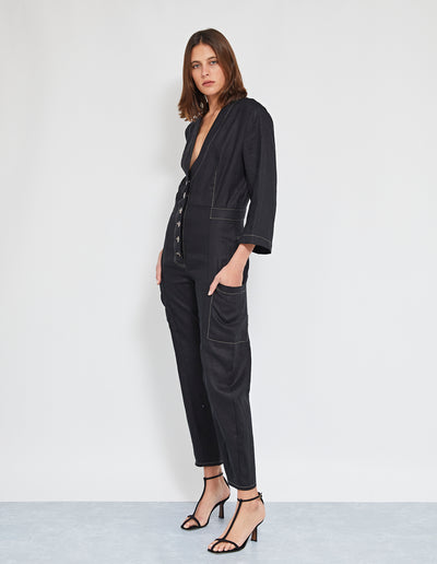 ECHO LINEN JUMPSUIT | BLACK