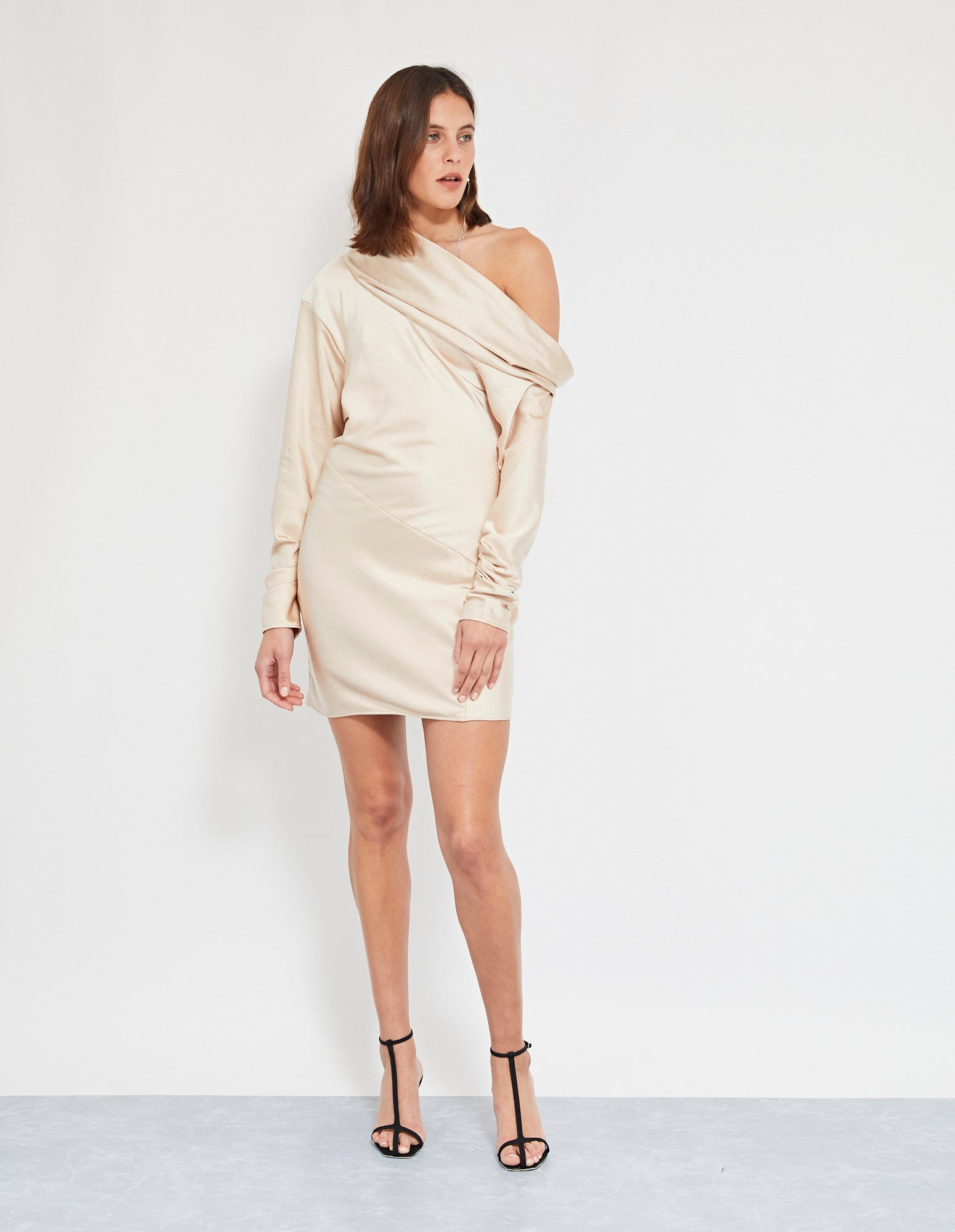 SUKIE COWL MINI DRESS | NUDE