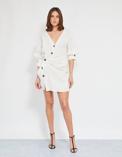 ELVIS TWIST DRESS | OFF WHITE