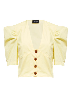 Torrini Poplin Top | Lemon