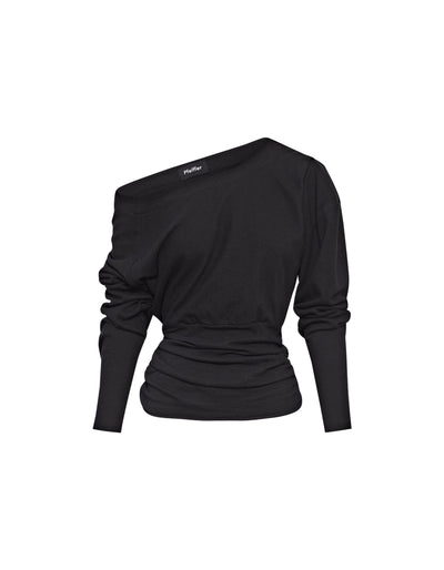 DELTA OFF SHOULDER TOP | BLACK