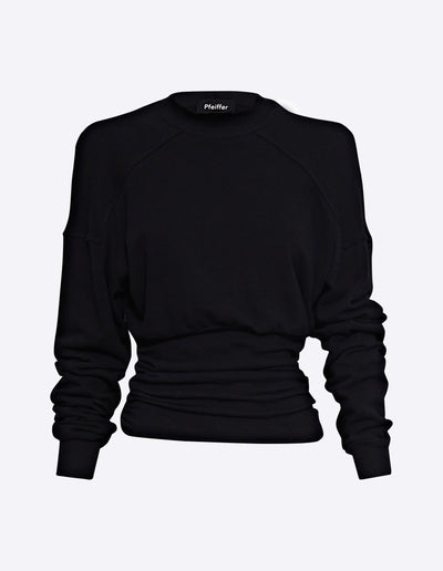 DELTA ROUCHED SWEAT | BLACK