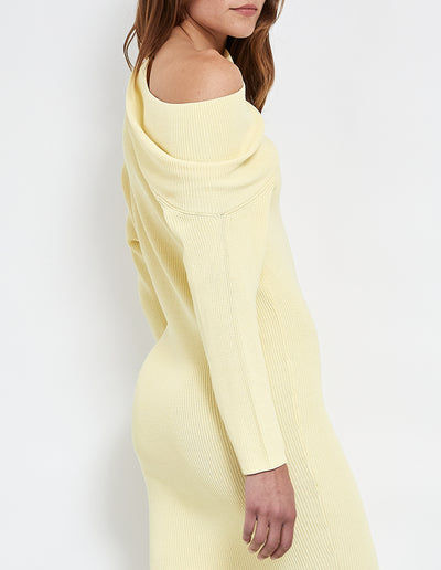 ROBBIE THICK KNIT DRESS | LEMON