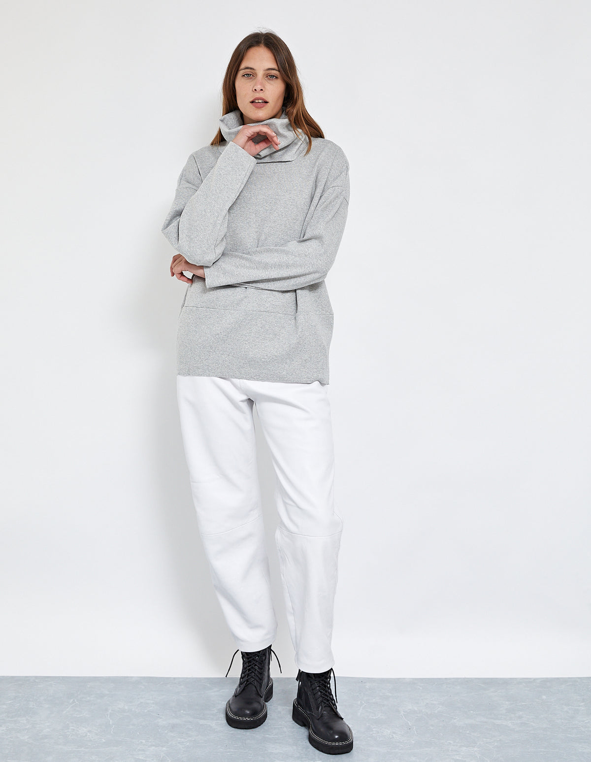 BRUNO RIB OVERSIZED TOP | GREY MARLE