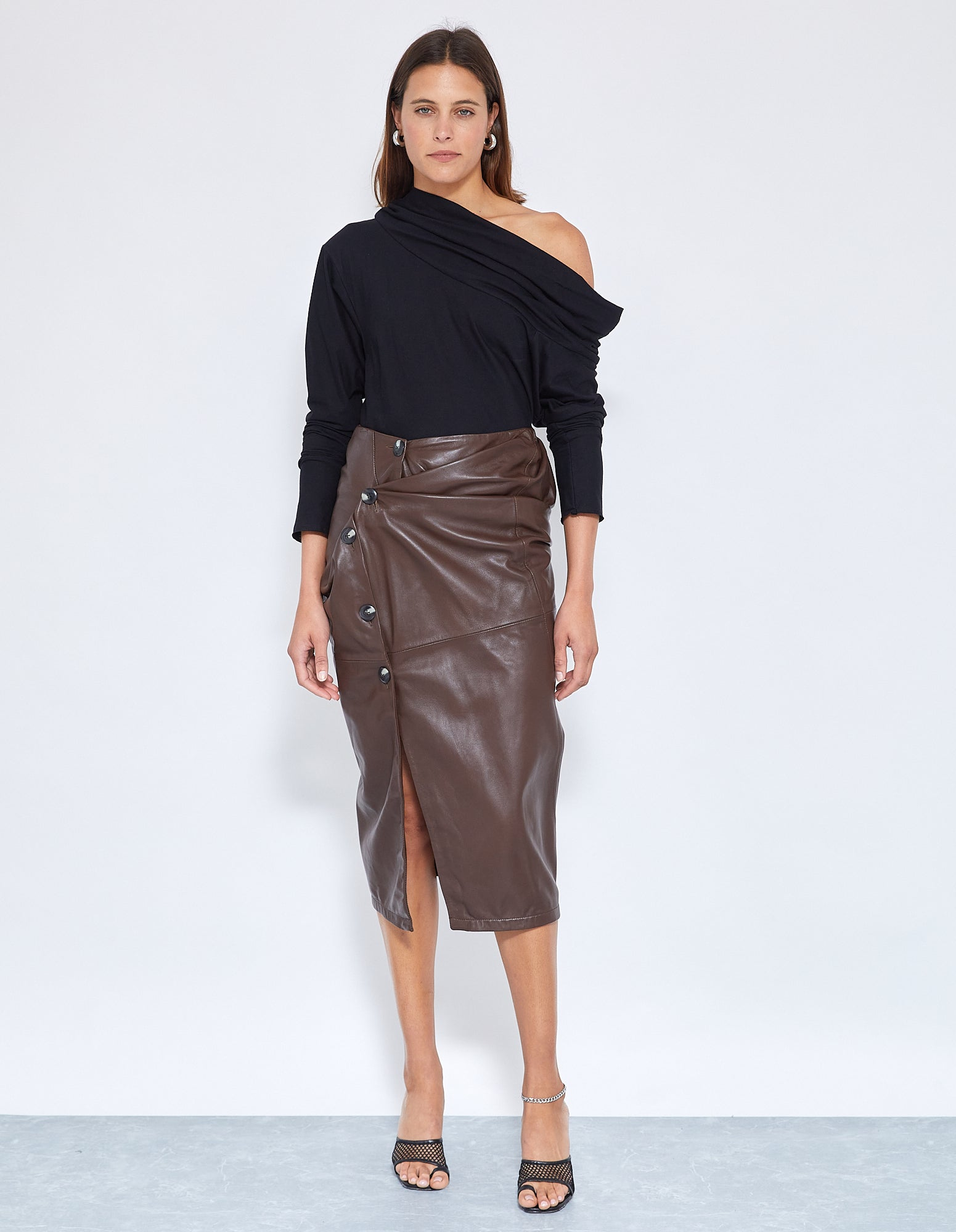 BUICK TWIST SKIRT | CHOCOLATE