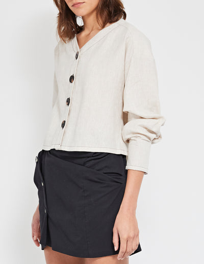 ECHO LINEN TOP | NATURAL