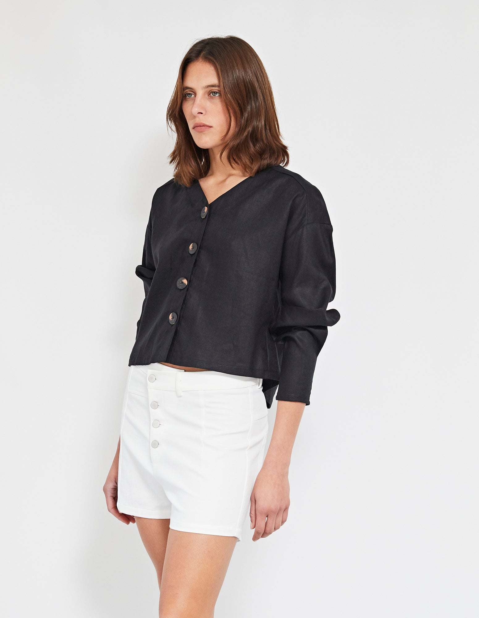 ECHO LINEN TOP | BLACK