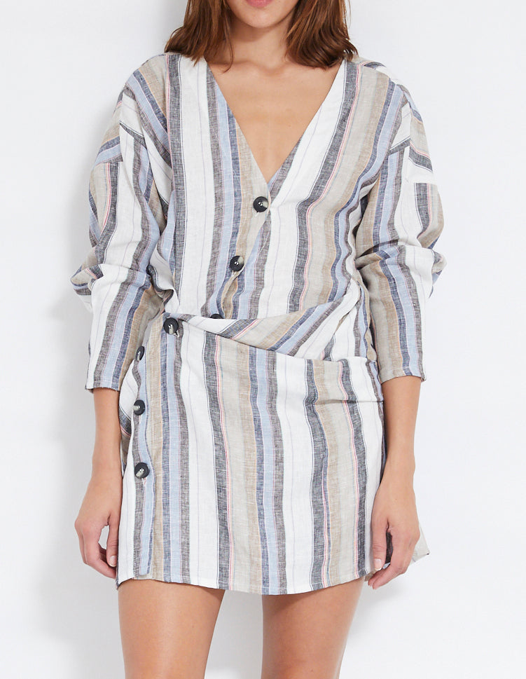LOVERS LINEN TWIST DRESS | STRIPE