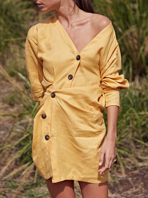 Lovers Linen Twist Dress | Mustard