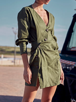 Lovers Linen Twist Dress | Olive