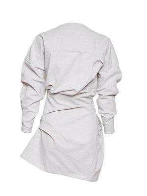 Hiro Lurex Linen Twist Dress | Silver