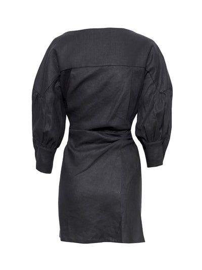 SEEKA LINEN TWIST DRESS | BLACK
