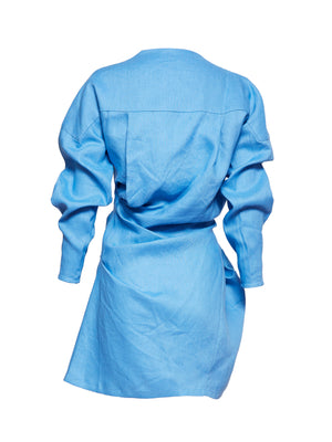 LOVERS LINEN TWIST DRESS | BLUE