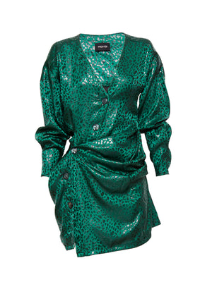 Gilda Silk Twist Dress | Emerald