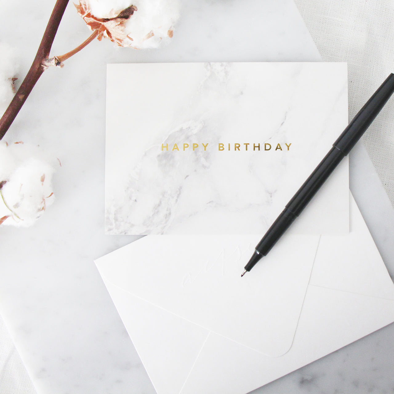 Happy Birthday Marble Card