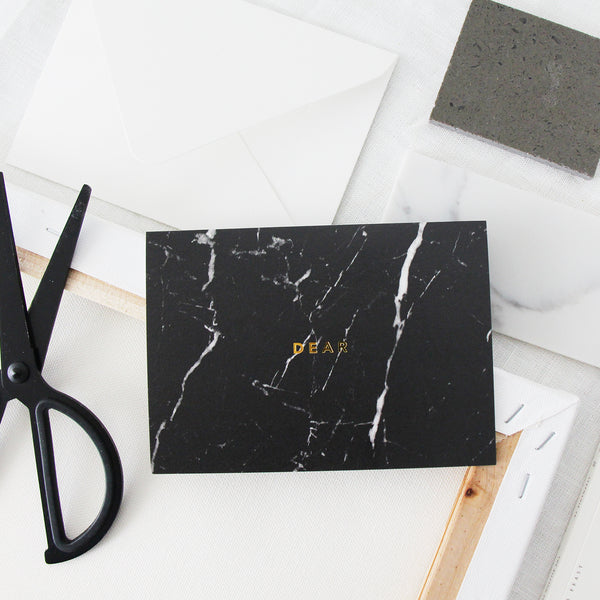Dear Black Marble Card