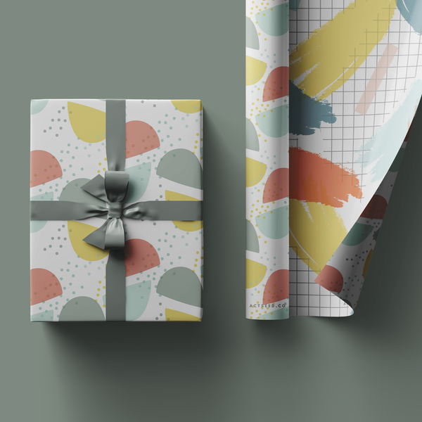 Half Moon Grid Wrapping Paper Roll, 50x70cm