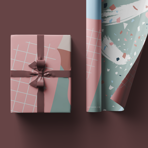 Abstract Pink Grid Wrapping Paper Roll, 50x70cm