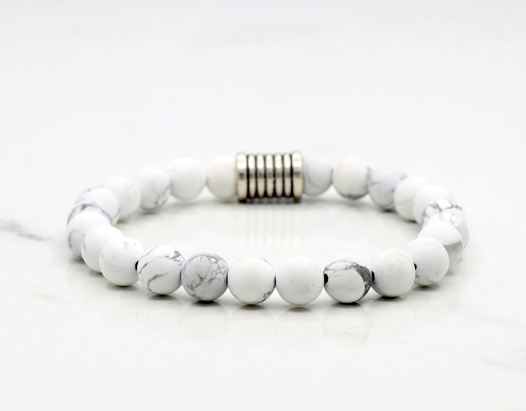 Natural White Frosted Howlite Bracelet