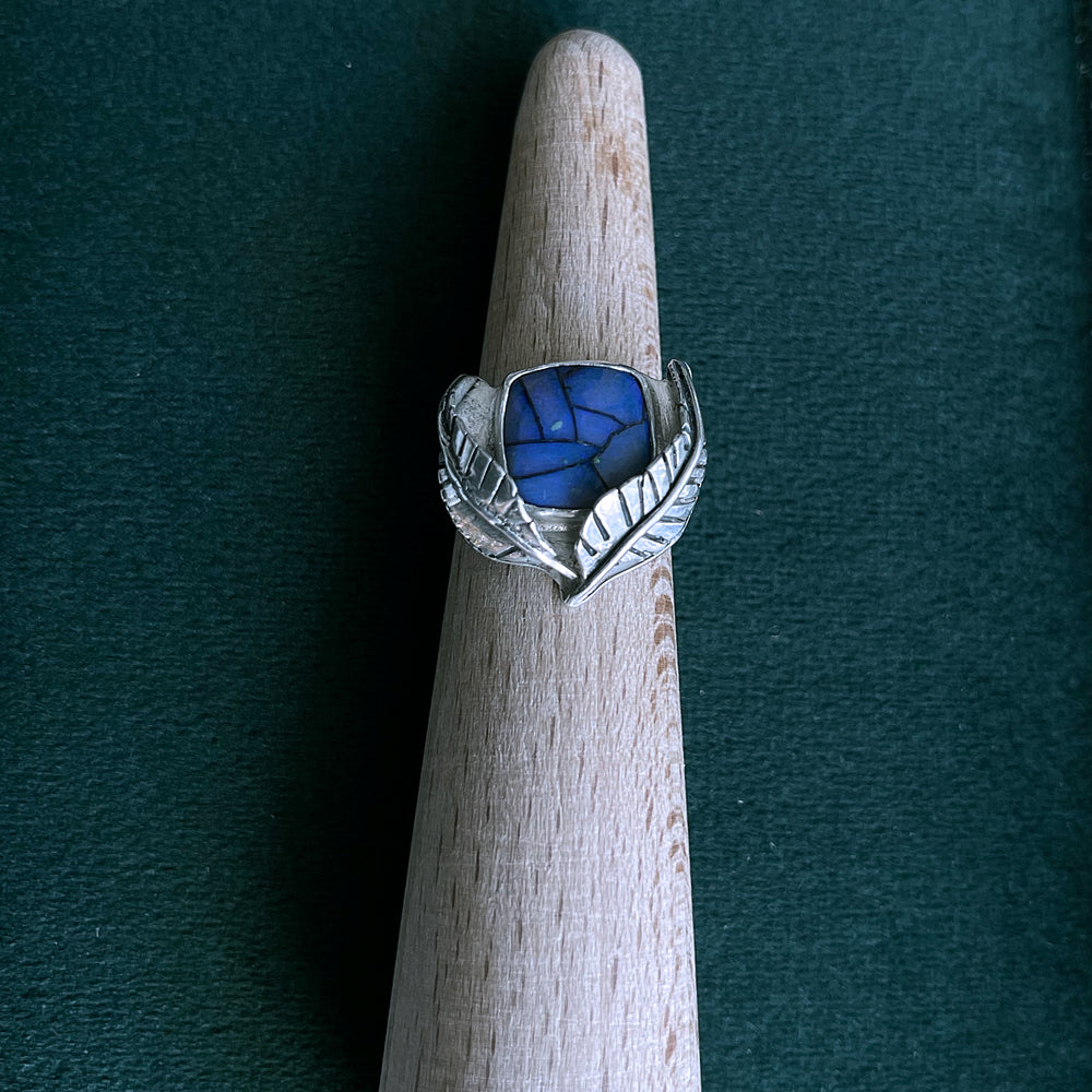 Game On: Sterling opal leaf ring size 6.5