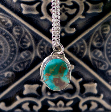 Simple Royston turquoise silver pendant