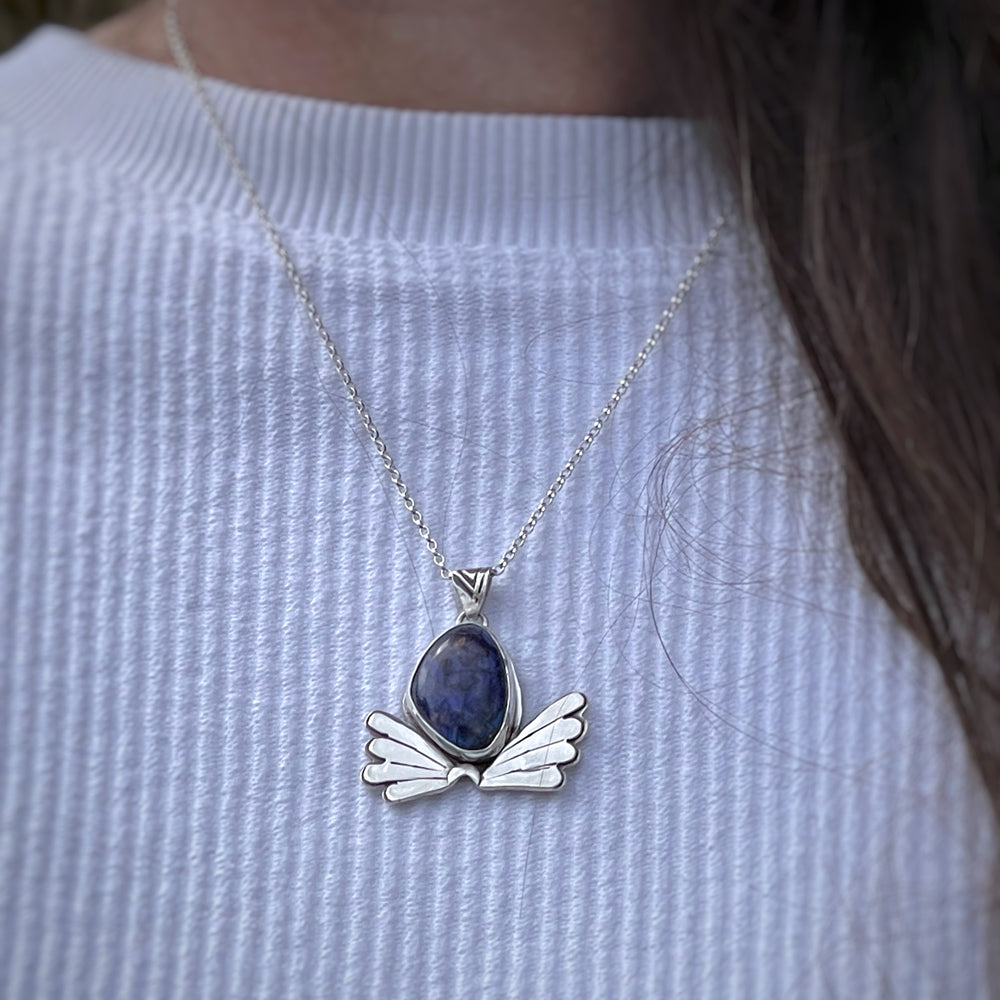 Game on: Sterling opal butterfly pendant