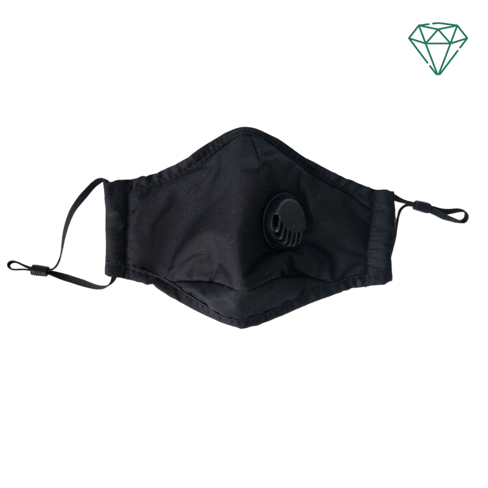 Panther (Black) - Reusable Washable Face Mask With Valve 95% Filtration | Emerald UK | N95 KN95 FFP2