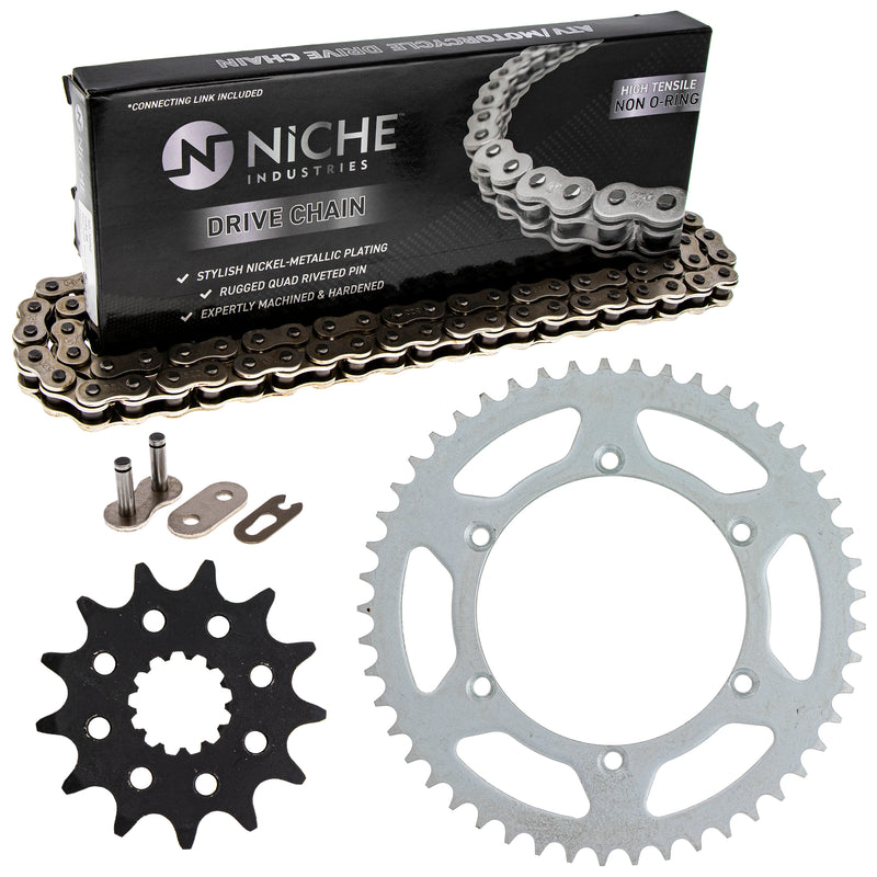 Drive Chain and Sprocket Kit for Kawasaki KX250 42041-1104 42041-1384 92057-0184 NICHE MK1003599
