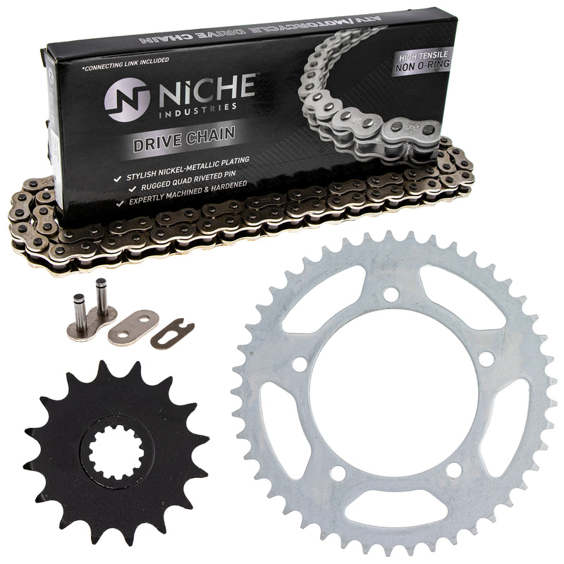 Drive Chain and Sprocket Kit for Yamaha Suzuki Kawasaki GSXR600 64511-39F00 9Y581-38109-00 NICHE MK1003650