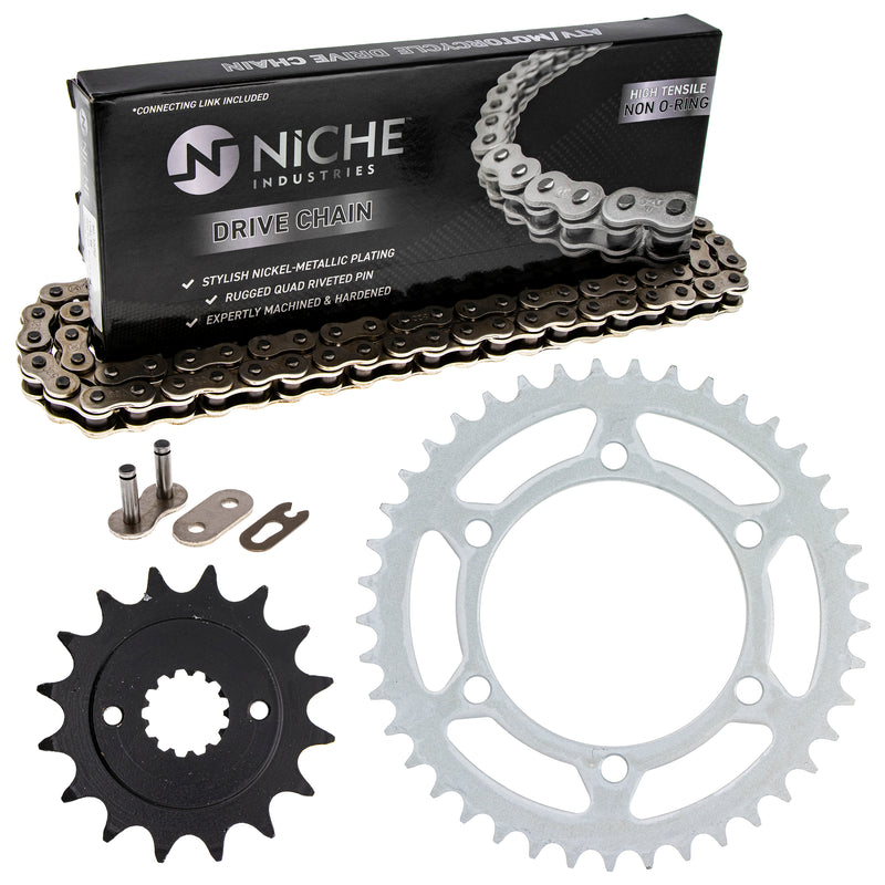 Drive Chain and Sprocket Kit for na Kawasaki Ninja 13144-1085 92057-1472 92057-0048 NICHE MK1003696