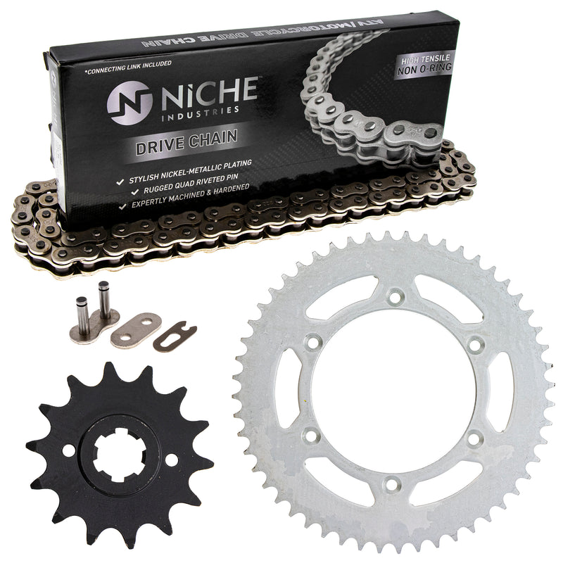 Drive Chain and Sprocket Kit for Suzuki Ducati PE250 27511-14210 67640721A 67640471A NICHE MK1003712