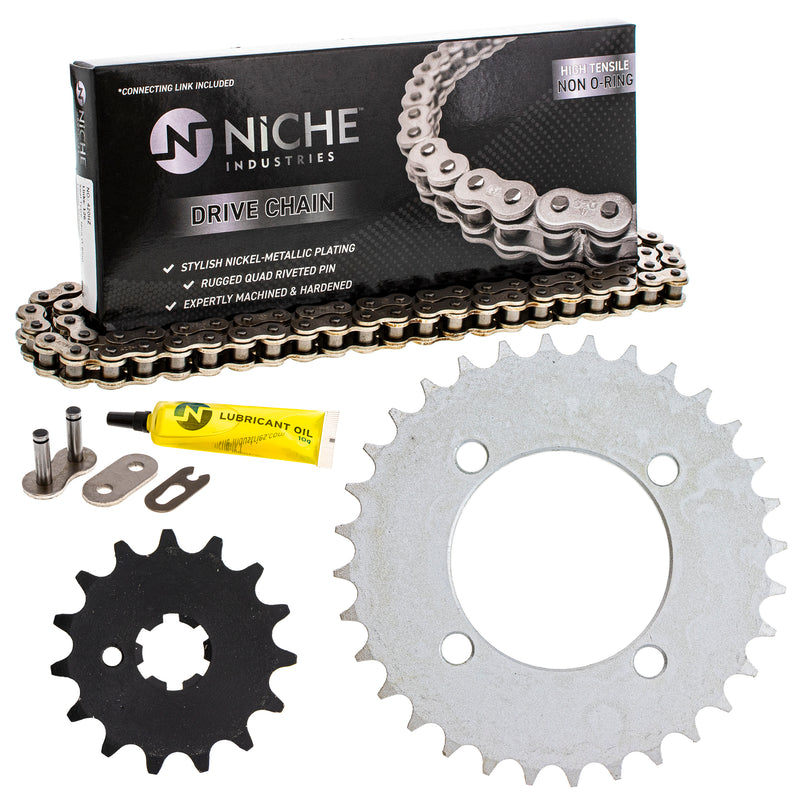 Drive Chain and Sprocket Kit for Yamaha PW80 4BC-25432-50-00 93812-15063-00 9Y580-52083-00 NICHE MK1004018